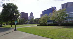 Picture of the KOIN building in Downtown Portland from the waterfront